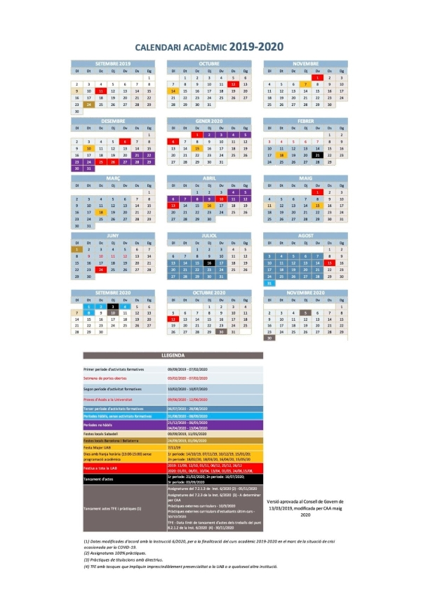 Uab Academic Calendar 2021 Academic calendar   Universitat Autònoma de Barcelona   UAB Barcelona