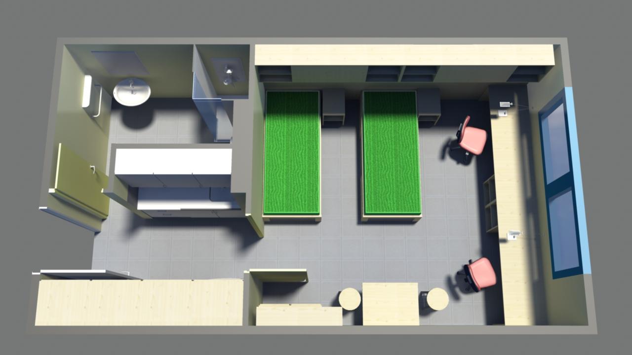 Bloque Baño Adaptado:Tipo D: para 1 o 2 personas – La Vila Universitaria de la UAB