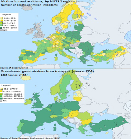 Victims in road accident and greenhouse gas emissions in Europe