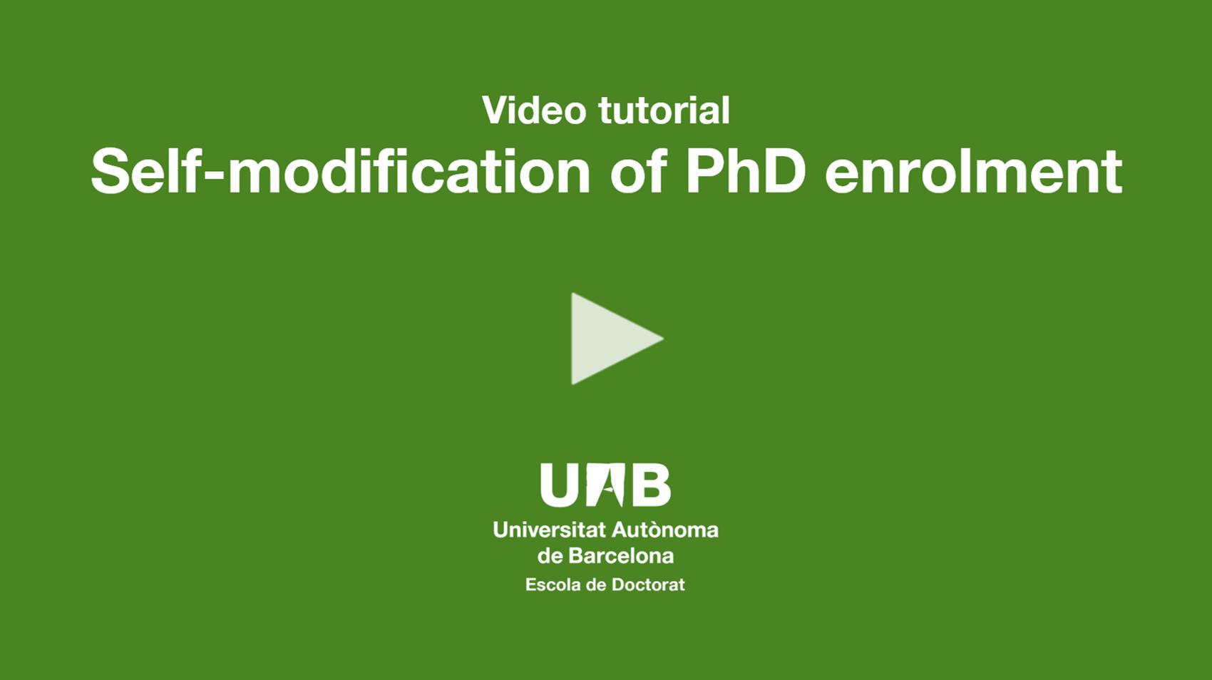 "Video tutorial ""Self-modification of PhD enrolment"""